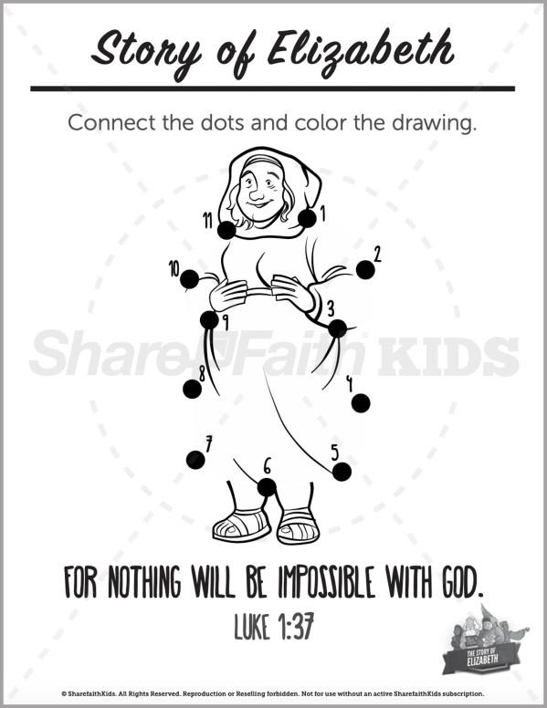 Luke 1 The Story of Elizabeth Preschool Dot to Dot