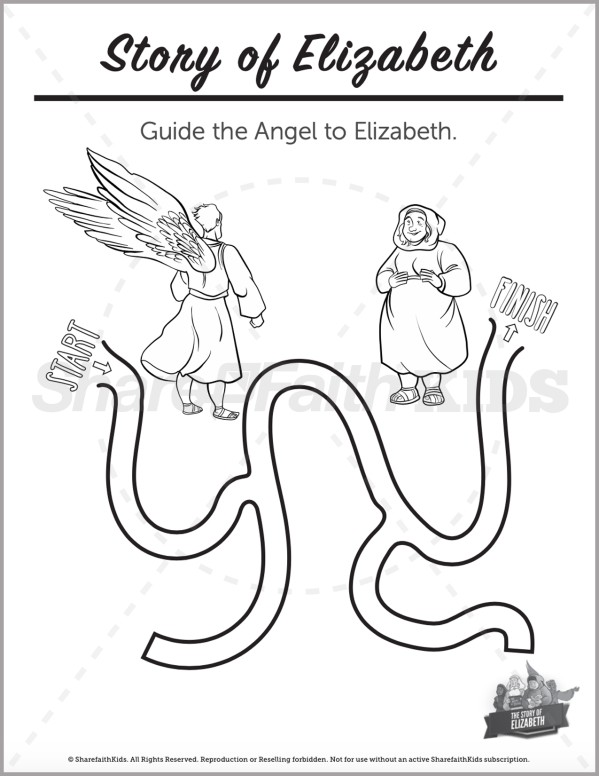 Luke 1 The Story of Elizabeth Preschool Mazes