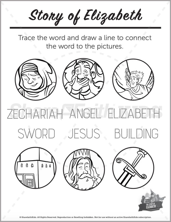 Luke 1 The Story of Elizabeth Preschool Word Picture Match