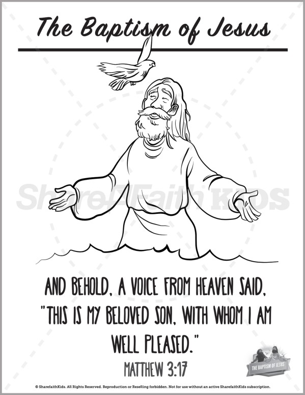 Matthew 3 The Baptism of Jesus Preschool Coloring Pages