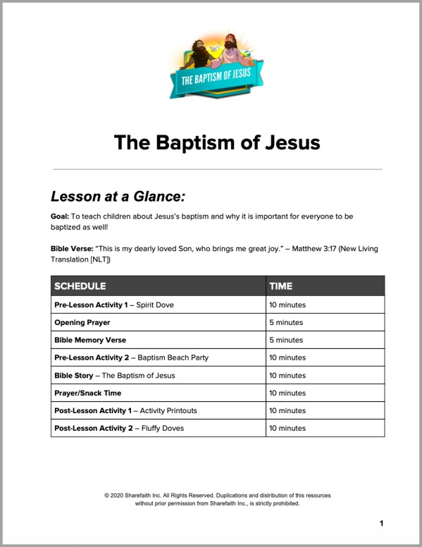 Matthew 3 The Baptism of Jesus Preschool Curriculum