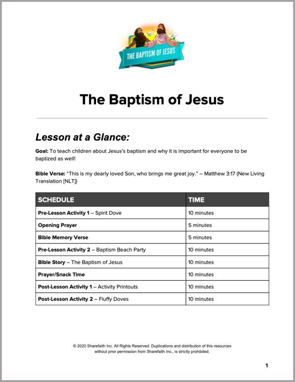 Matthew 3 The Baptism of Jesus Preschool Curriculum