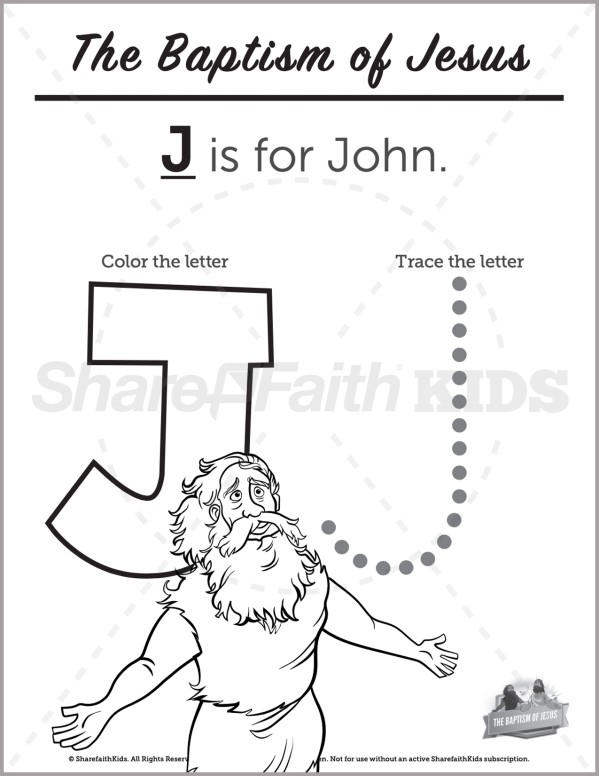 Matthew 3 The Baptism of Jesus Preschool Letter Coloring