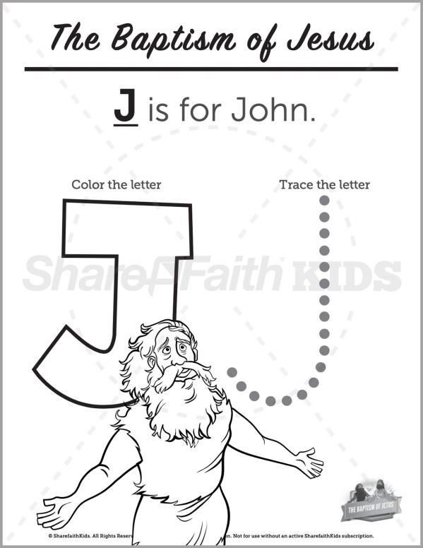 Matthew 3 The Baptism of Jesus Preschool Letter Coloring