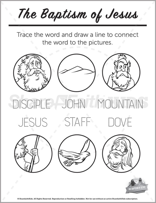 Matthew 3 The Baptism of Jesus Preschool Word Picture Match
