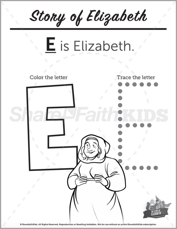Luke 1 The Story of Elizabeth Preschool Letter Coloring