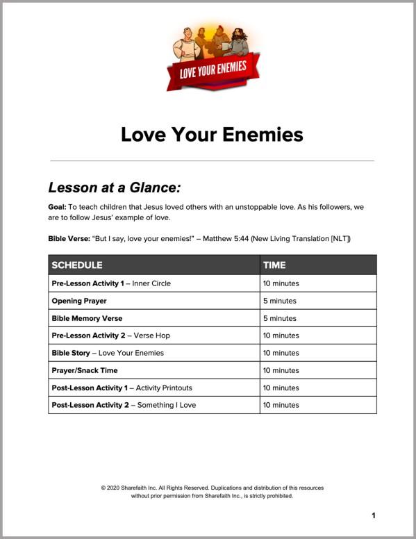 Matthew 5 Love Your Enemies Preschool Curriculum