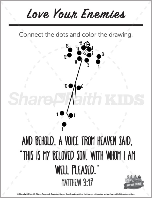 Matthew 5 Love Your Enemies Preschool Dot to Dot