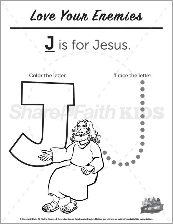 Matthew 5 Love Your Enemies Preschool Letter Coloring