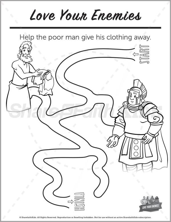 Matthew 5 Love Your Enemies Preschool Mazes