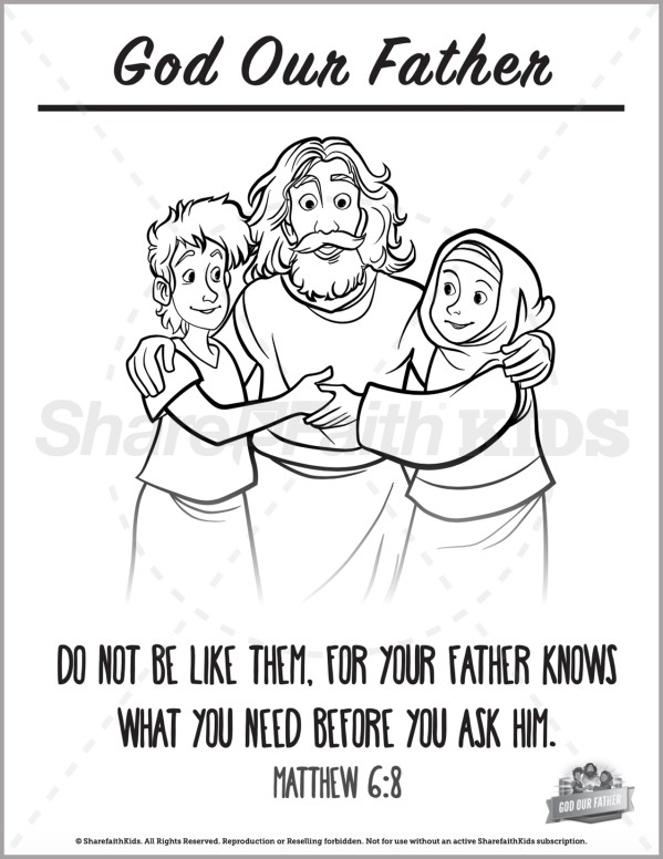 Matthew 6 God Our Father Preschool Coloring Pages