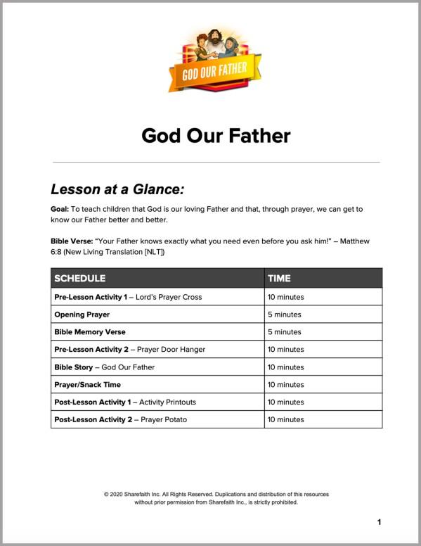 Matthew 6 God Our Father Preschool Curriculum