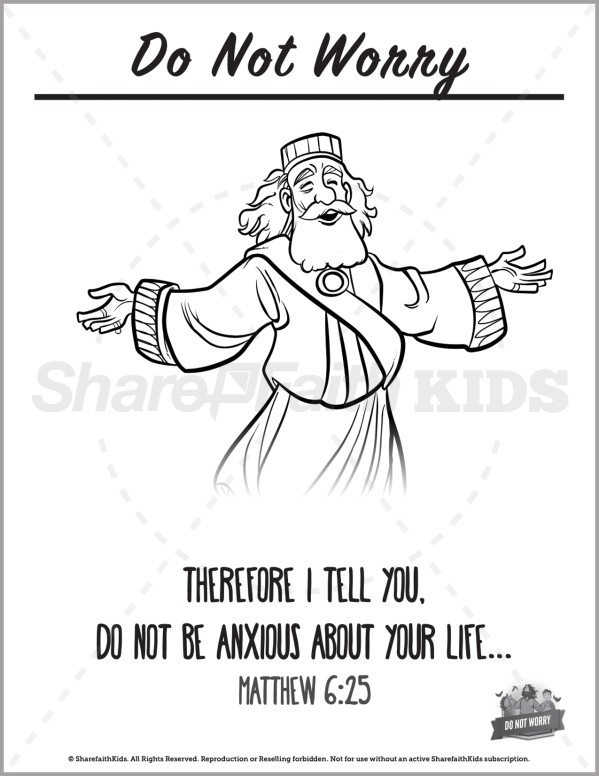 Matthew 6 Do Not Worry Preschool Coloring Pages