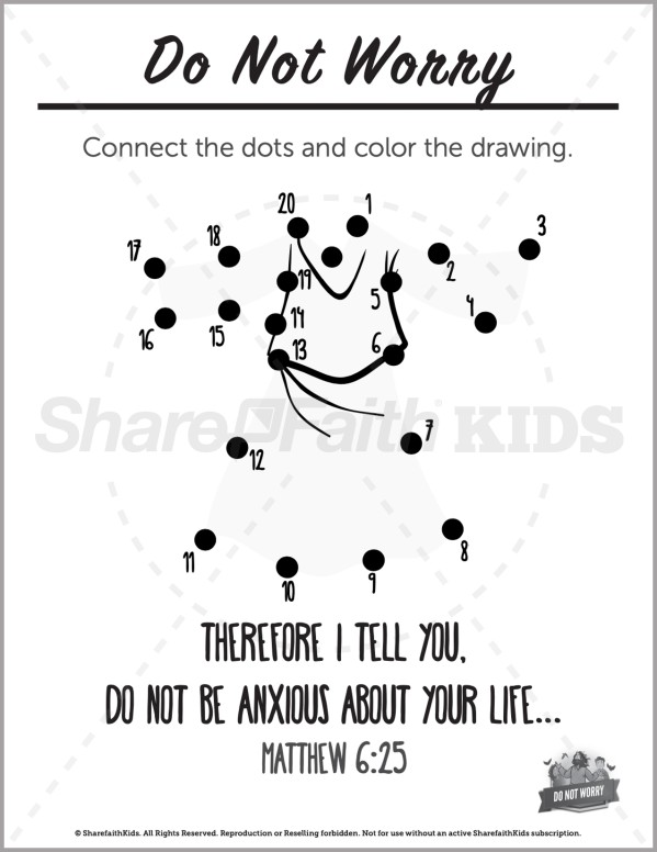 Matthew 6 Do Not Worry Preschool Dot to Dot