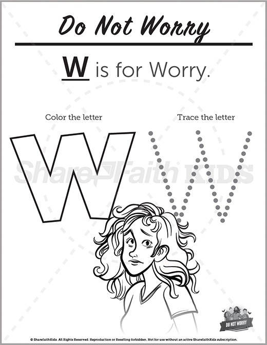Matthew 6 Do Not Worry Preschool Letter Coloring