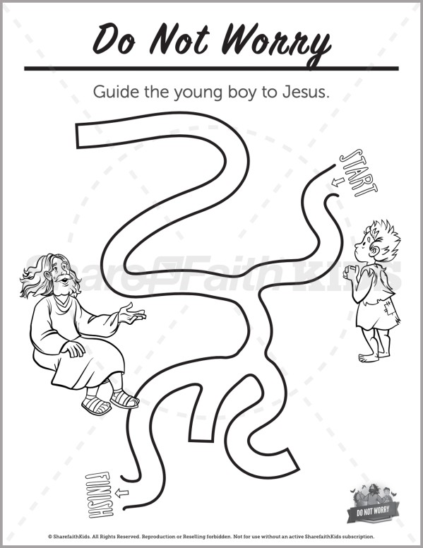 Matthew 6 Do Not Worry Preschool Mazes