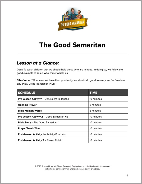 Luke 10 The Good Samaritan Preschool Curriculum
