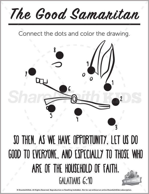 Luke 10 The Good Samaritan Preschool Dot to Dot