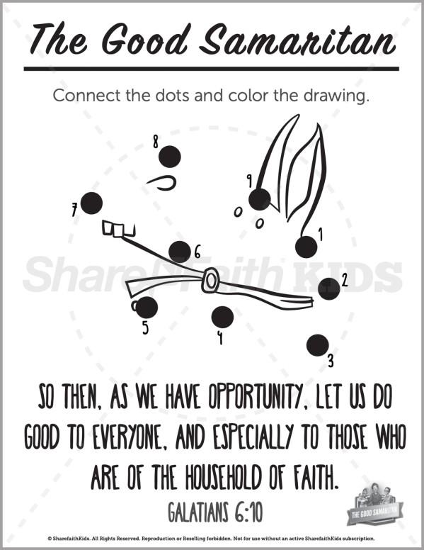 Luke 10 The Good Samaritan Preschool Dot to Dot