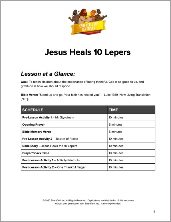 Luke 17 Jesus Heals 10 Lepers Preschool Curriculum