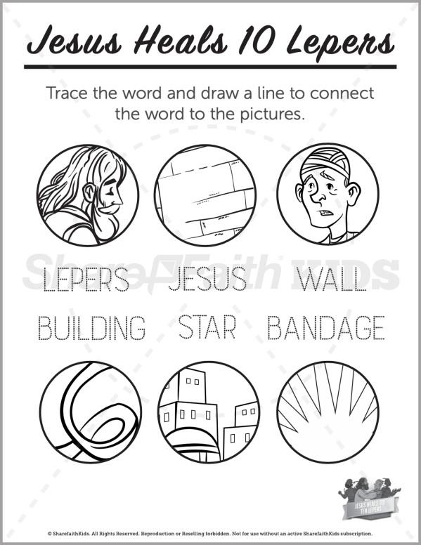 Luke 17 Jesus Heals 10 Lepers Preschool Word Picture Match