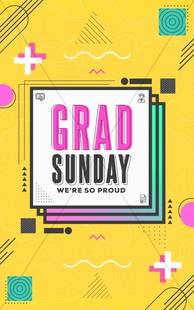 Grad Sunday Yellow Church Bifold Bulletin