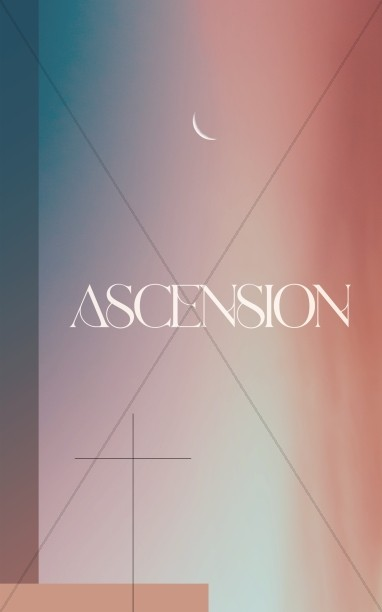 Jesus' Ascension Pink Blue Church Bifold Bulletin