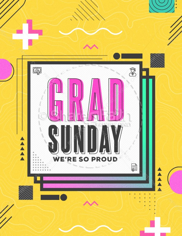 Grad Sunday Yellow Church Flyer