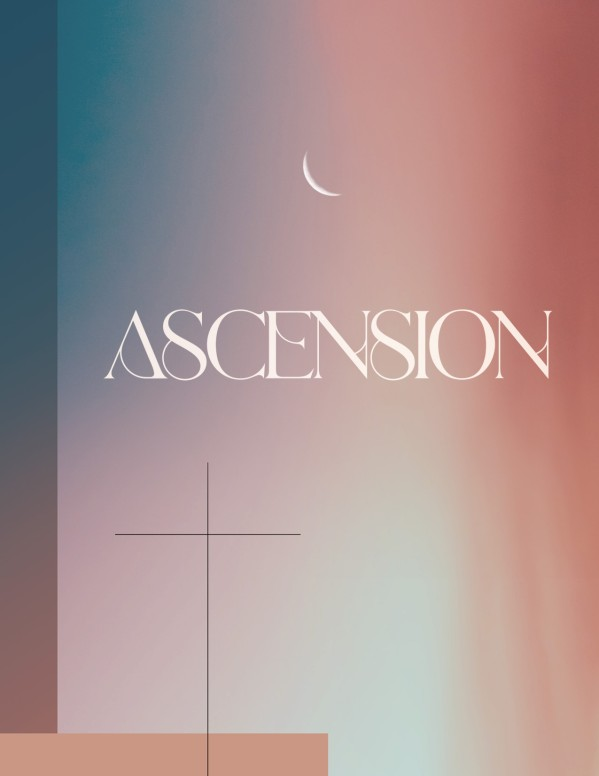 Jesus' Ascension Pink Blue Church Flyer
