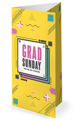 Grad Sunday Yellow Church Trifold Bulletin