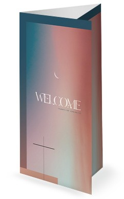 Jesus' Ascension Pink Blue Church Trifold Bulletin