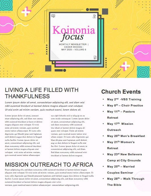 Grad Sunday Yellow Church Newsletter