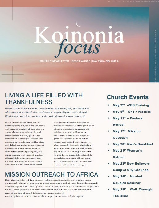 Jesus' Ascension Pink Blue Church Newsletter
