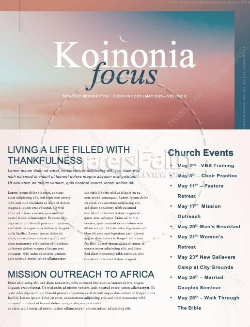 Jesus' Ascension Pink Blue Church Newsletter