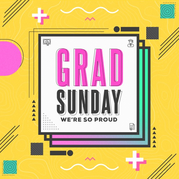 Grad Sunday Yellow Social Media Graphic
