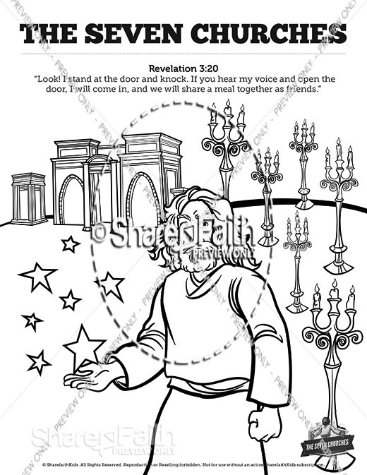 Revelation 2 3 The Seven Churches Sunday School Coloring Pages