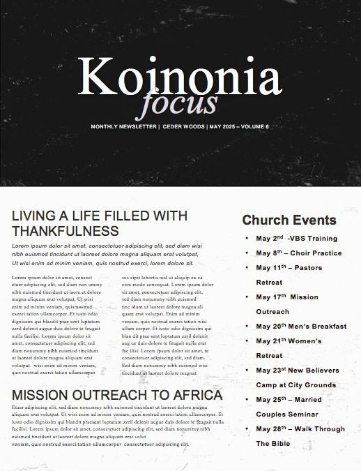 Triggered Church Newsletter