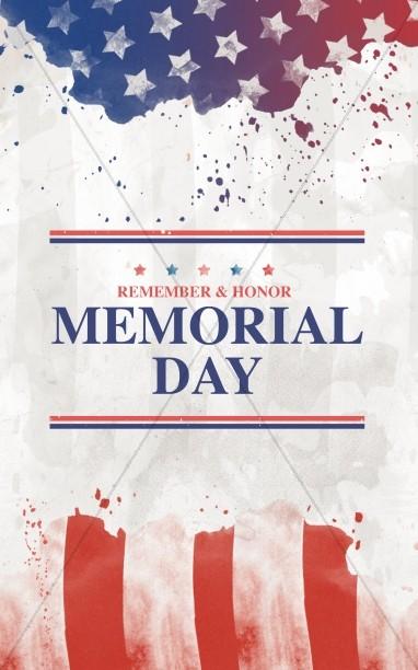 Memorial Day Flag Church Bifold Bulletin