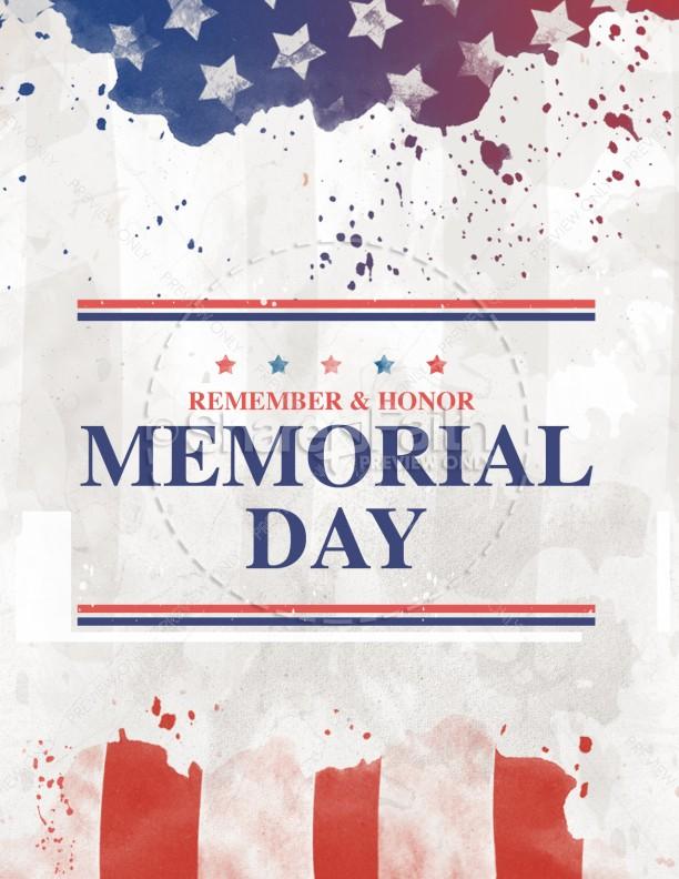 Memorial Day Flag Church Flyer