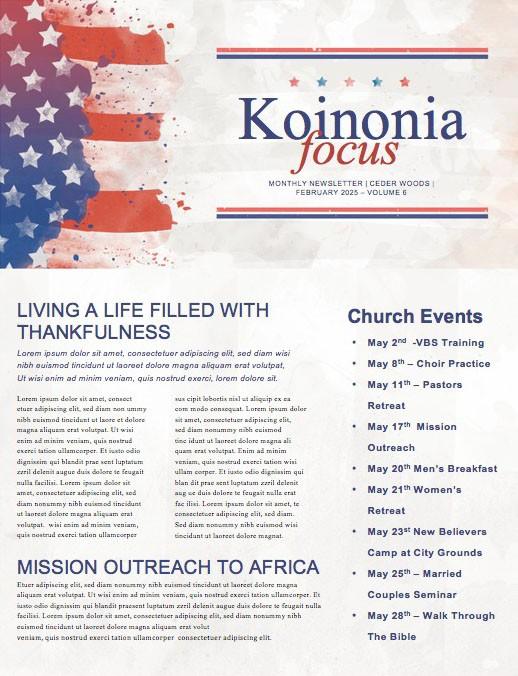 Memorial Day Flag Church Newsletter