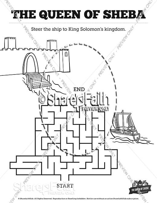 1 Kings 10 The Queen of Sheba Bible Mazes