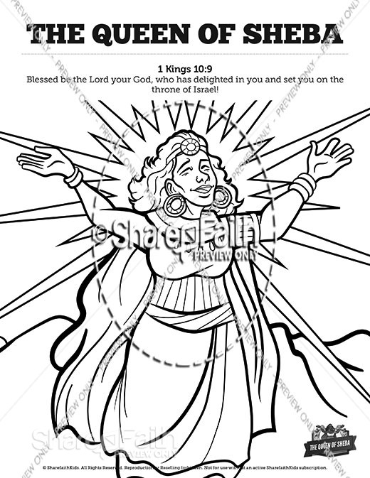 1 Kings 10 The Queen of Sheba Sunday School Coloring Pages