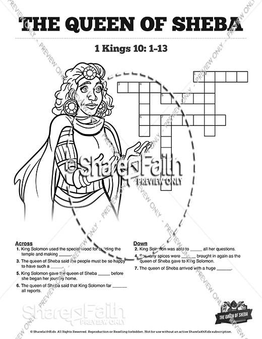 1 Kings 10 The Queen of Sheba Sunday School Crossword Puzzles