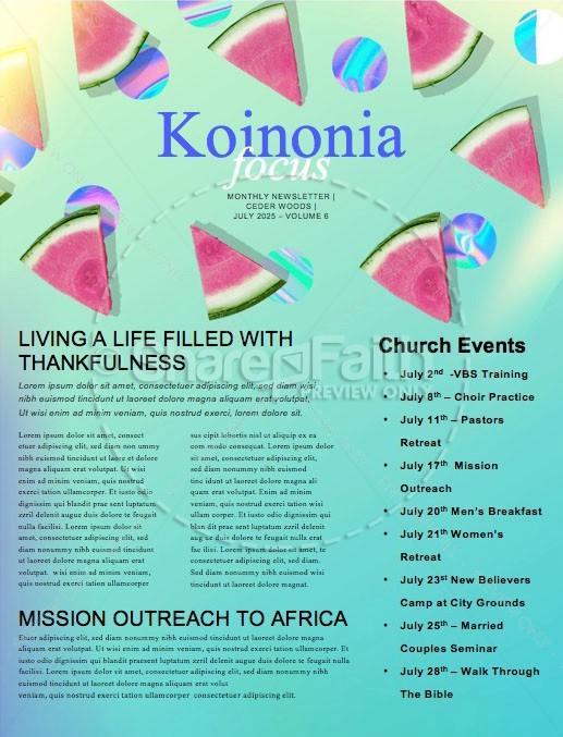Summer Watermelon Church Newsletter