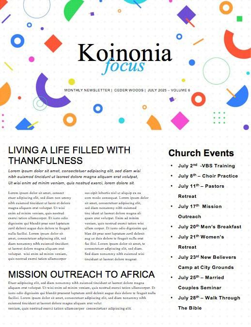 VBS Church Newsletter
