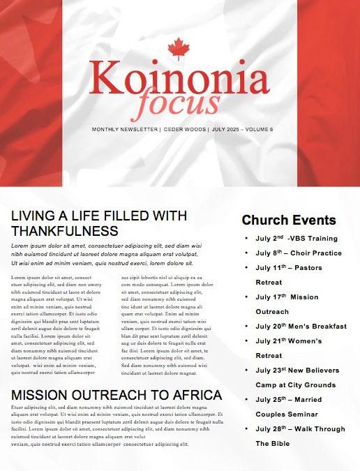 Canada Day Flag Church Newsletter