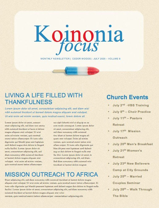 4th Of July Popsicle Church Newsletter
