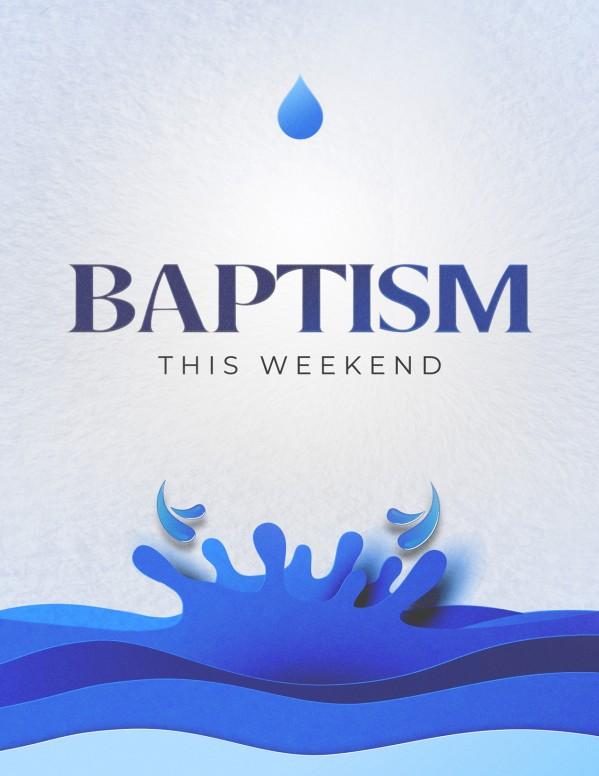 Baptism Sunday Blue Church Flyer