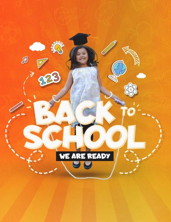 Back To School Orange Church Flyer