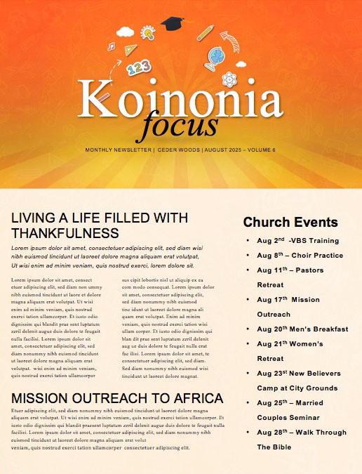 Back To School Orange Church Newsletter